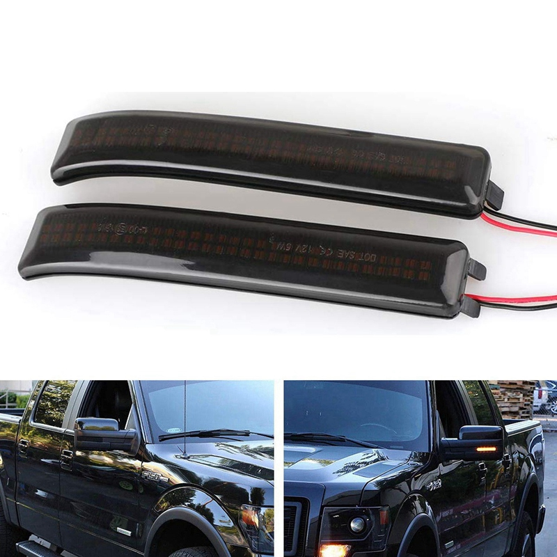 Smoked LED Side Wing Dynamic Turn Signal Light Flowing Rearview Mirror Indicator Blinker Light for Ford F150 SVT Raptor 2019-201