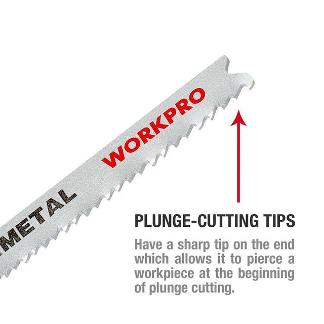 WORKPRO 25PC Saw Blades T-Shank  Jigsaw Blades Assorted Blades for Wood Plastic Metal Cutting Saw Blades Made with HCS/HSS/BIM 5