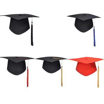 Nowe zakończenie szkoły Party frędzle czapka Mortarboard uniwersytet kawalerski mistrz lekarz akademicki kapelusz tanie i dobre opinie Graduation NONE Jednolity kolor PS6429-01 Dla dorosłych Acrylic fibres