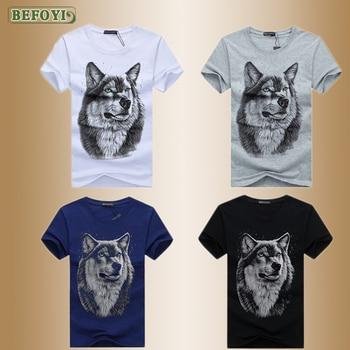 S-5XL Mens T-shirts Animal Wolf Dragon Print Funny t shirt Men Summer Casual Street Wear Hip-hop Tee Male Tops 2020 New