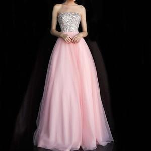 Dressv Prom Dresses 2020 Long Pink Sequins Sleeveless Strapless Floor-Length Simple Prom Party Dress For Women