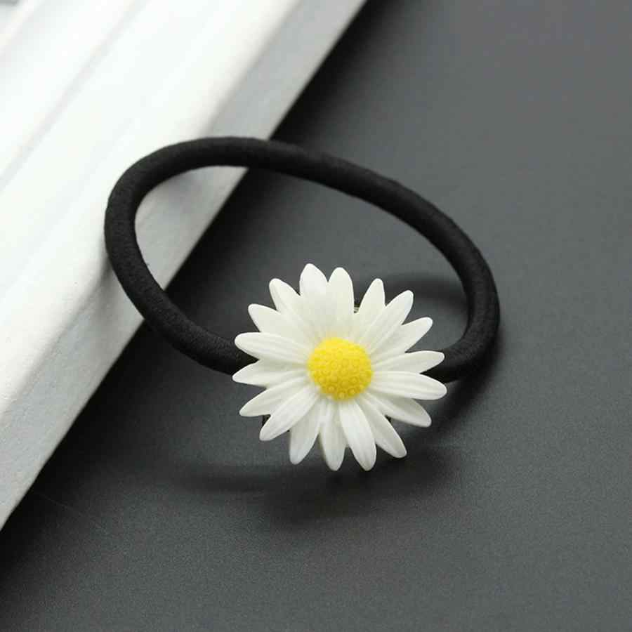 2pcs Mini Daisy ดอกไม้ผู้หญิงแหวนผม Tie เชือกผมคลิปดอกไม้จี้ HairPins อุปกรณ์เสริมผมเครื่องประดับอุปกรณ์เสริม
