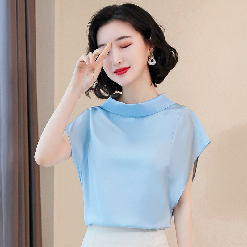 Korean Silk Blouses Women Satin Shirt Tops Plus Size Women Short Sleeve Loose Blouse Shirts Blusas Mujer De Moda 2020 Women Tops