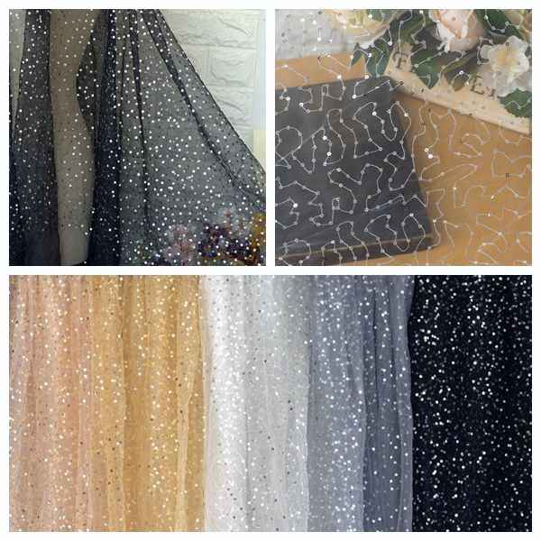 2 meters/partij sequin stijve tule kant stof in off white, netto trouwjurk overlay borduren kant, craft stof 150 cm breed