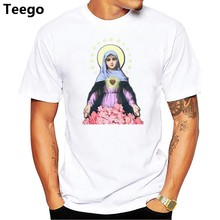 New Arrival Summer Fashion Short Sleeve Print Blessed Virgin Mary male T-Shirts O-Neck Casual men Tops(China)