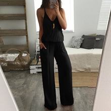 2019 Popular Womens Solid Jumpsuit Casual Loose Sleeveless V Neck Jumpsuit Ladies Wide Leg Pants Playsuit Romper Black Blue Red autumn new middle east popular solid color loose casual hanging neck loose wide leg large size fat mm sexy ladies dress