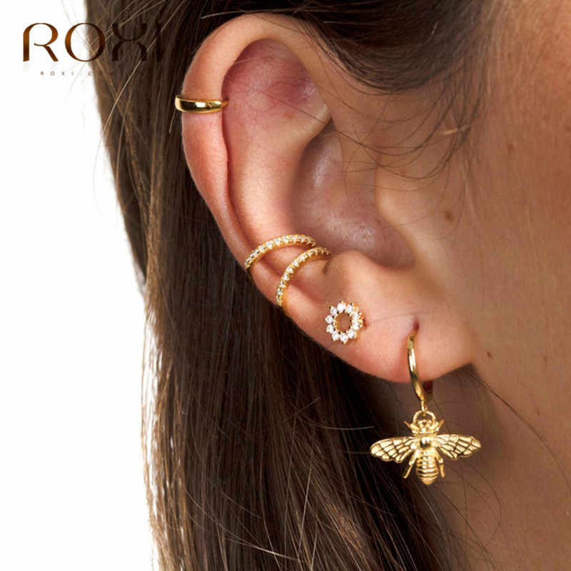 ROXI 925 Stelring Silver Small Bee Pendant Small Stud Earrings For Women Cute Stereoscopic Insect Earrings Fashion Jewelry Gifts
