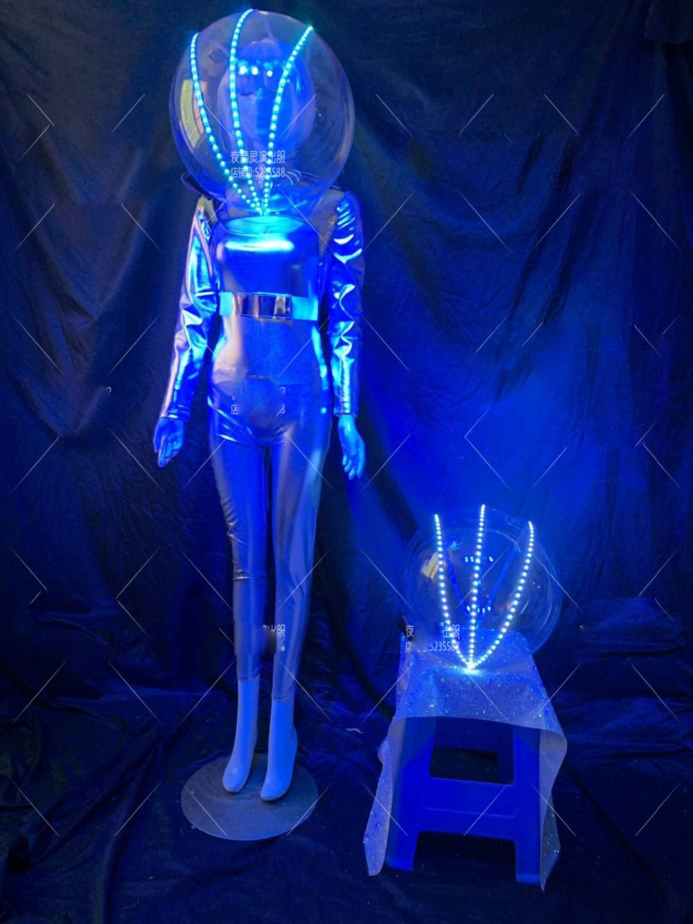 Lumious Space Warrior Helmet Costume DS DJ Gogo Party Stage Show Future Technology Nightclub Cosplay Light Up Headwear
