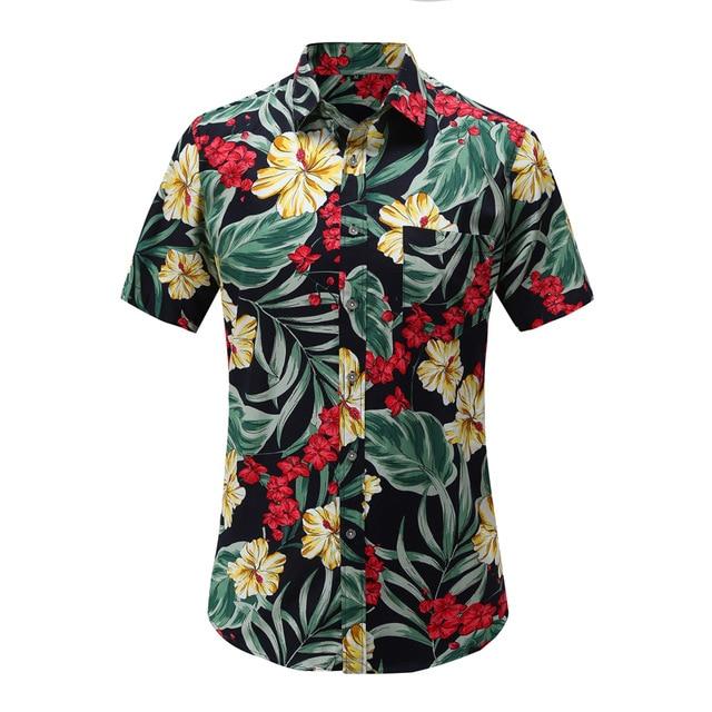 Mens-Moda-Praia-Ver-o-Havaiano-Camisa-Marca-Slim-Fit-Camisas-de-Manga-Curta-Floral-Casual.jpg_640x640