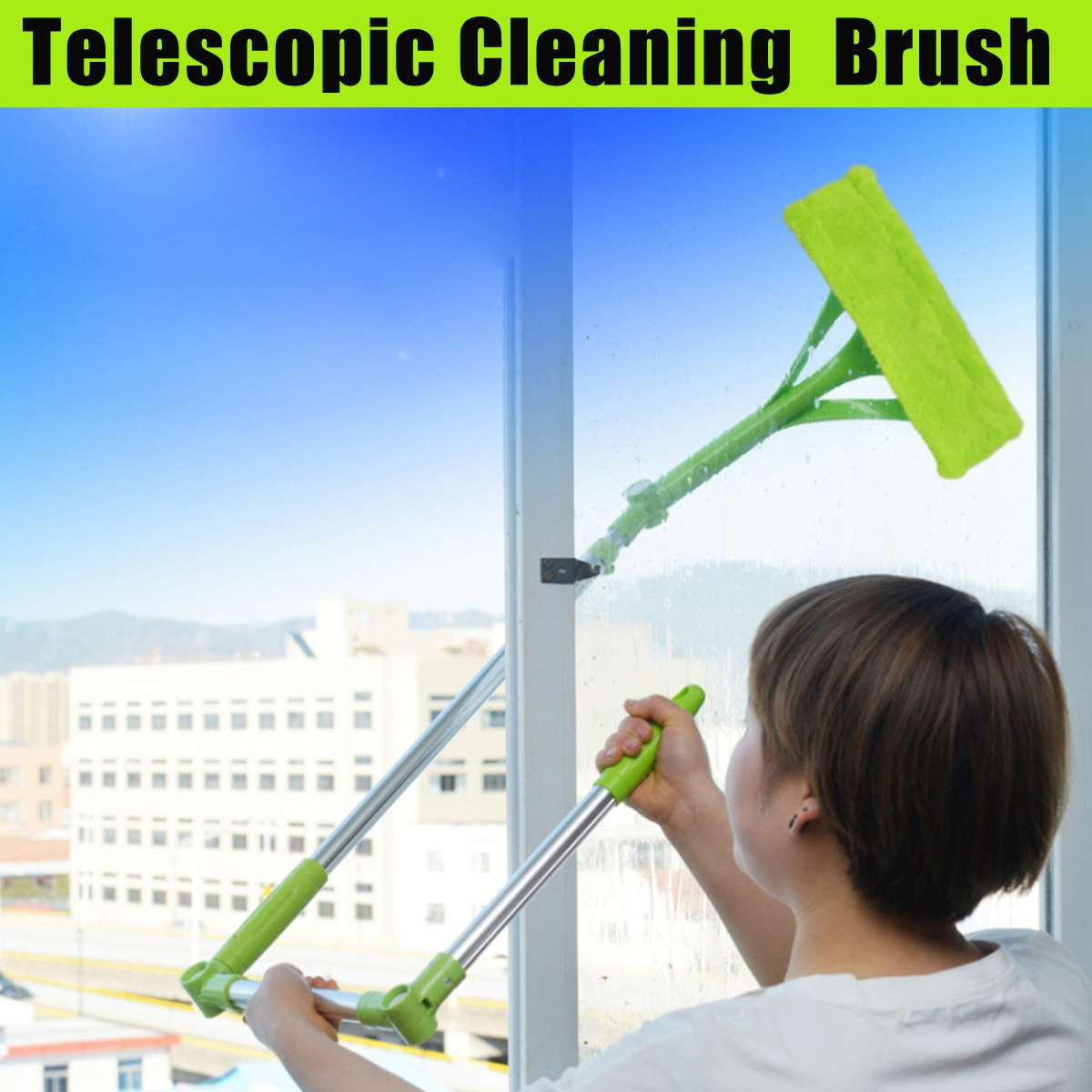 New Design Practical 196cm Telescopic Foldable Window Cleaner Brush Double Side Glass Wiper Useful Glass Surface Cleaning Brush