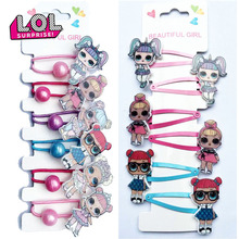 6pcs LOL Surprise Doll Hairpin Rubber Band Hair Accessories Cartoon Resin Printing Accessories Set Girl Headdress birthday gifts