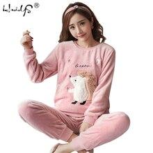 Womens Pajamas Autumn and Winter Pajamas set Women Long Sleeve Sleepwear Flannel Warm Lovely Top + Pants Pajamas Female Pyjama