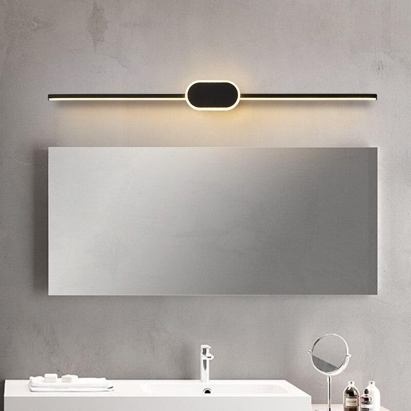 Black/White Modern LED Mirror Lights 0.4M~0.8M Wall Lamp Bathroom Bedroom Headboard Wall Sconce Lampe Anti-fog Espelho Banheiro