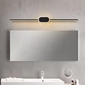 Image 1 - Black/White Modern LED Mirror Lights 0.4M~0.8M wall lamp Bathroom bedroom headboard wall sconce lampe Anti fog espelho banheiro