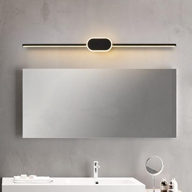 Black/White Modern LED Mirror Lights 0.4M~0.8M wall lamp Bathroom bedroom headboard wall sconce lampe Anti fog espelho banheiro