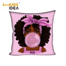 HUGSIDEA Black African Bubble Girl Cushion Cover for Sofa Car 45x45cm Afro Magic Girl Pillow Case Decorative Pillow Cover Pink cover girl spf22