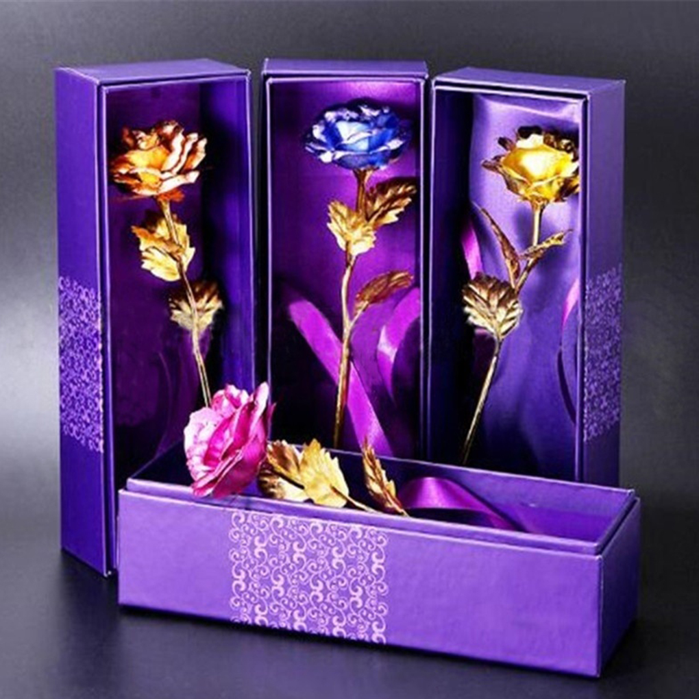24K Foil Plated Rose Gold Valentine's Day Creative Gift  Rose Lasts Forever Love Wedding Decor Lover Lighting Rose