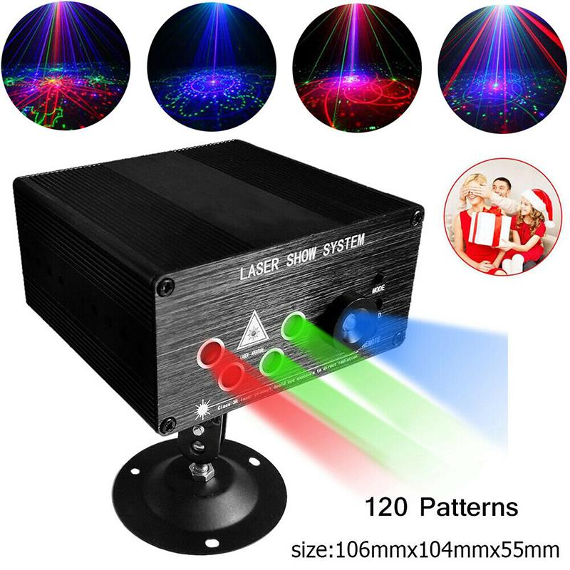 Image 2 - RGB Laser Projector Light Disco Ball Party Lights Strobe Light RGB LED Stage Lights For Christmas Home KTV Xmas Wedding Show-in Stage Lighting Effect from Lights & Lighting