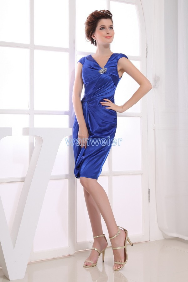Free Shipping Party Dress 2016 Royal Blue New Design Train Beading Brides Maid Dress Short Sexy Mother Of The Bride Dresses
