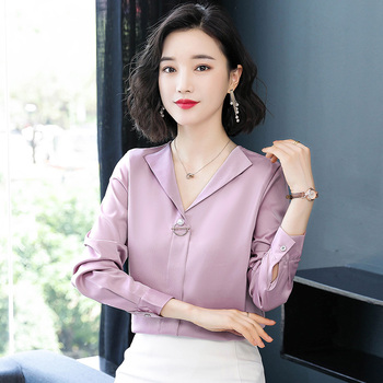 Korean Fashion Silk Women Blouses Autumn Turn-down Collar Pink Women Shirts Plus Size XXXL Blusas Femininas Elegante Ladies Tops autumn korean fashion silk women blouses satin pink women shirts plus size xxxl blusas femininas elegante ladies tops