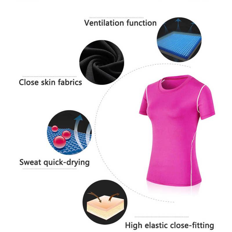 ホットな新速乾性圧縮タイトコート女性 Tシャツフィットネスジャージヨガブラウス卓球稼働女性シャツスポーツスーツ