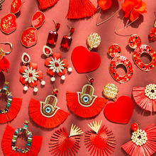 Lukeni 2019 Red Colors 29 Style Drop Earrings For Women Za Bohemian Taseel Fruit Eye Heart Lover Wedding Gifts
