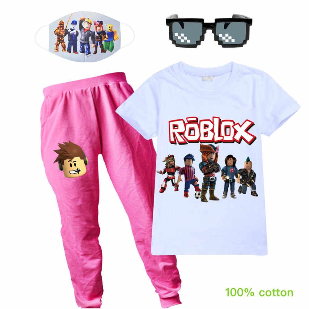 2020 아기 소년 소녀 의류 세트 여름 짧은 소매 ROBLOX 만화 면화 어린이 키즈 복장 티셔츠 투피스 세트