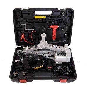 12V 3Ton voiture électrique Jack levage SUV équipement d'urgence outils avec clé à Impact noir ciseaux Jack gris QZ038