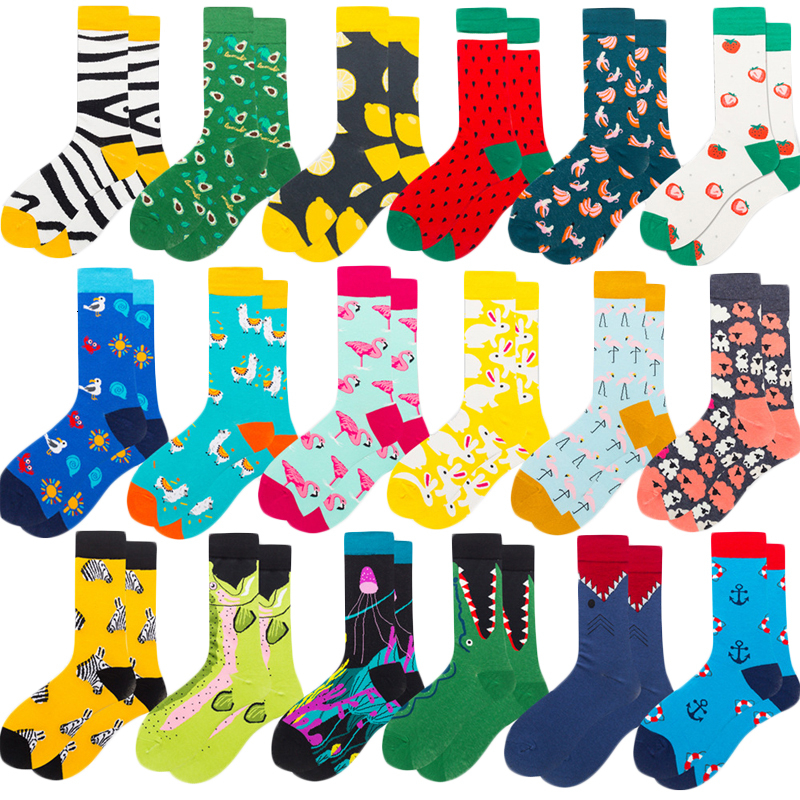 Colorful Bright Men Socks Novelty Cartoon Animal Flamingo Zebra Fruit Pattern Cute Female Combed Cotton Happy Socks For Gifts