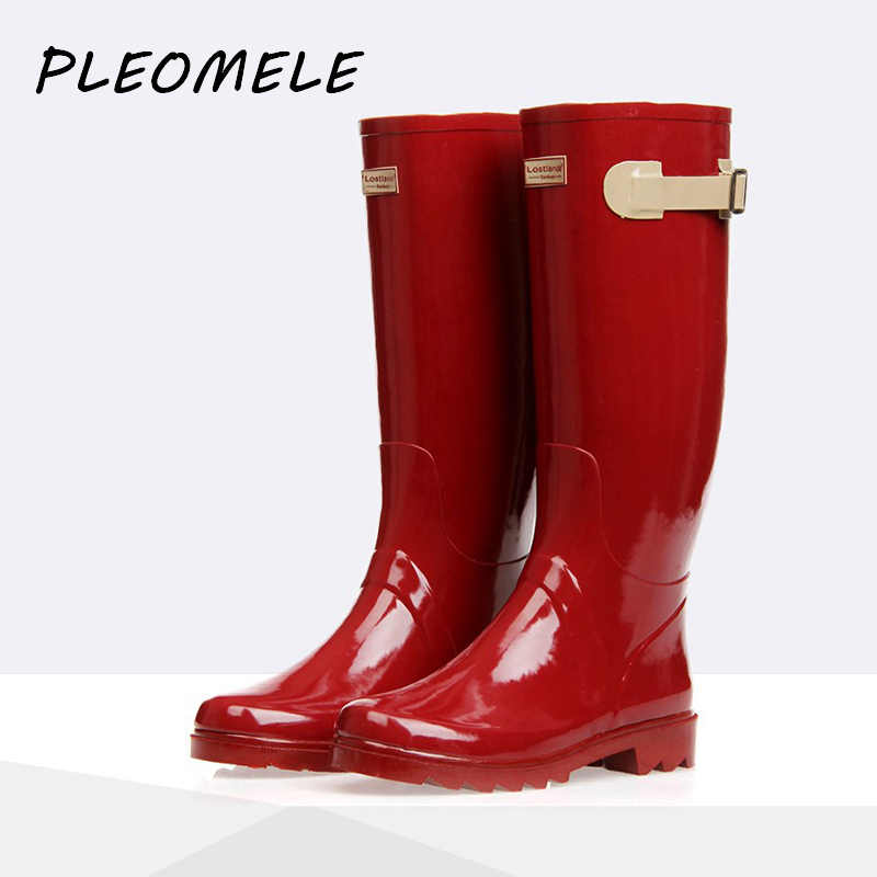 Rubber Women Rain Boots British Classic High Tube Waterproof Water Shoes Ladies Wellington Glossy RED Rainboots