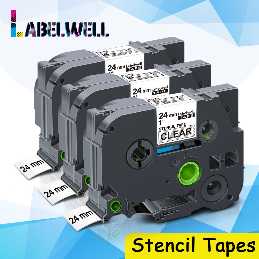 Labelwell – bande transparente noire pour imprimante Brother P touch, Compatible avec les pochoirs STe 151 STe151 de 24mm, 3 pièces