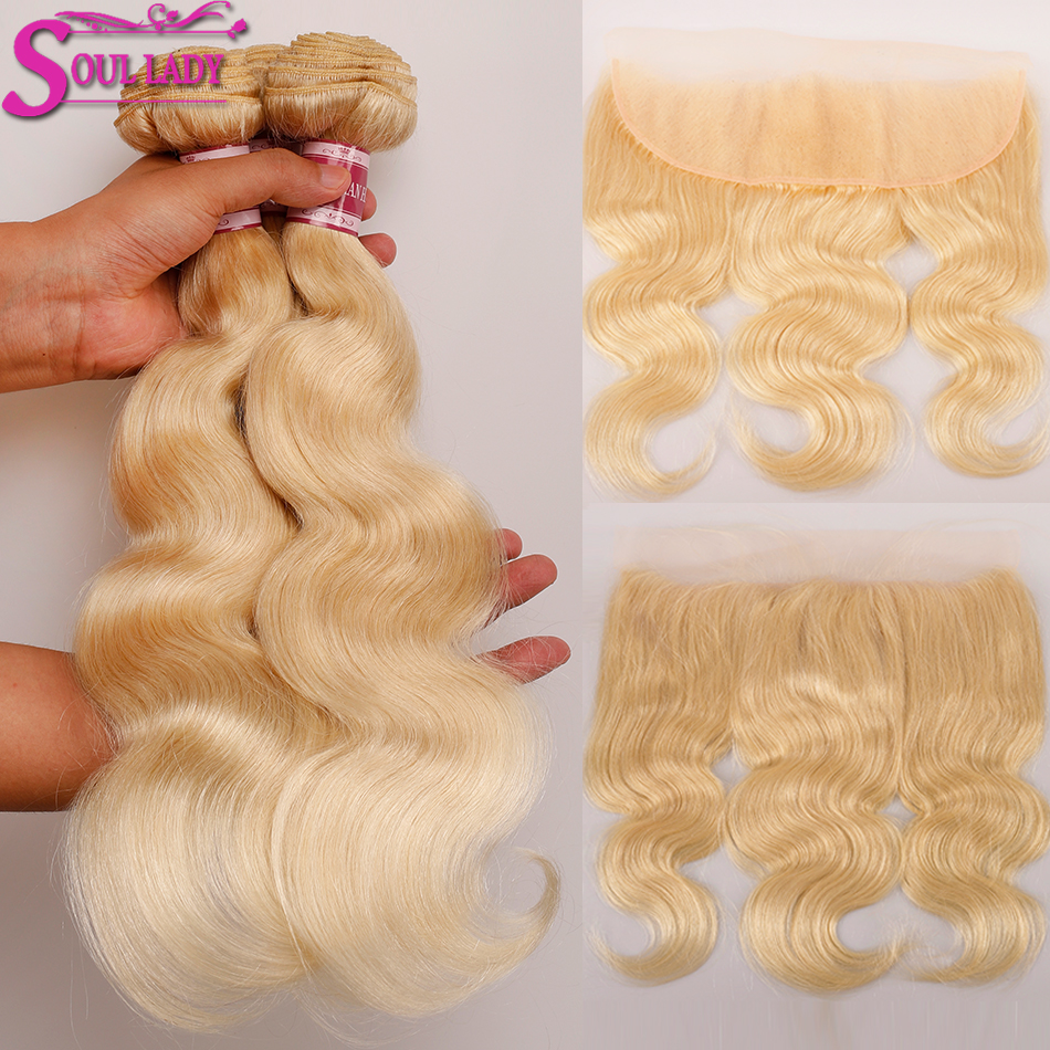 Soul Lady 613 Blonde Hair with Frontal Peruvian Body Wave Remy 613 Blonde Frontal Bundles 13x4 Pre Plucked Ear To Ear Frontal image