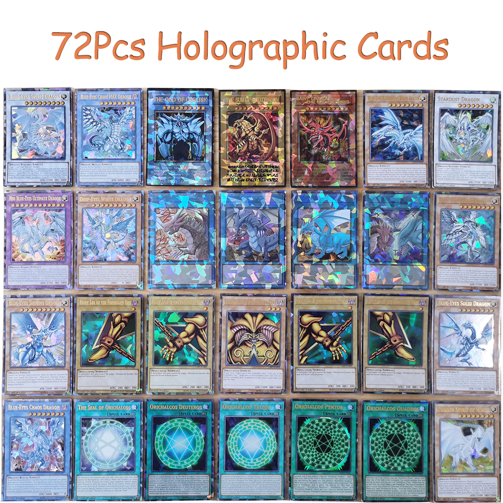 2021 New Arrival 72PCS YuGiOh Card All Different in English YU-GI-OH Decks Holographic Shiny Cards for Kids