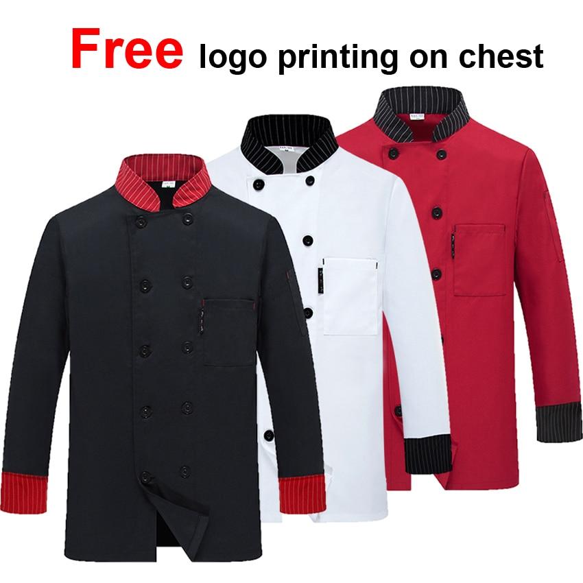 Free Logo Printing Unisex Lady Full Sleeve Winter Man Chef Coat Jacket Food Service Cook Uniform Male Waiter Work Shirt