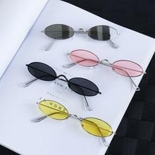 Lunettes de soleil ovales rétro pour femmes, 1 pièce, petites lunettes de soleil de marque Vintage, noir, rouge, couleur métal, Design à la mode