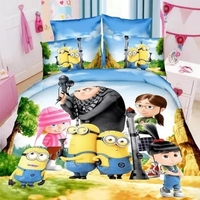 New 3d Minions Bedding Set Cute Minions Character Cartoon Duvet Cover for Chidren Gift Student Dormitory Single Bedclothes