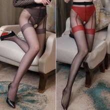 Crotchless Elastic Magical Stockings Sexy Women Pantyhose Tights Open Crotch Fake Garter Panties Anti Hook Female Pantyhose