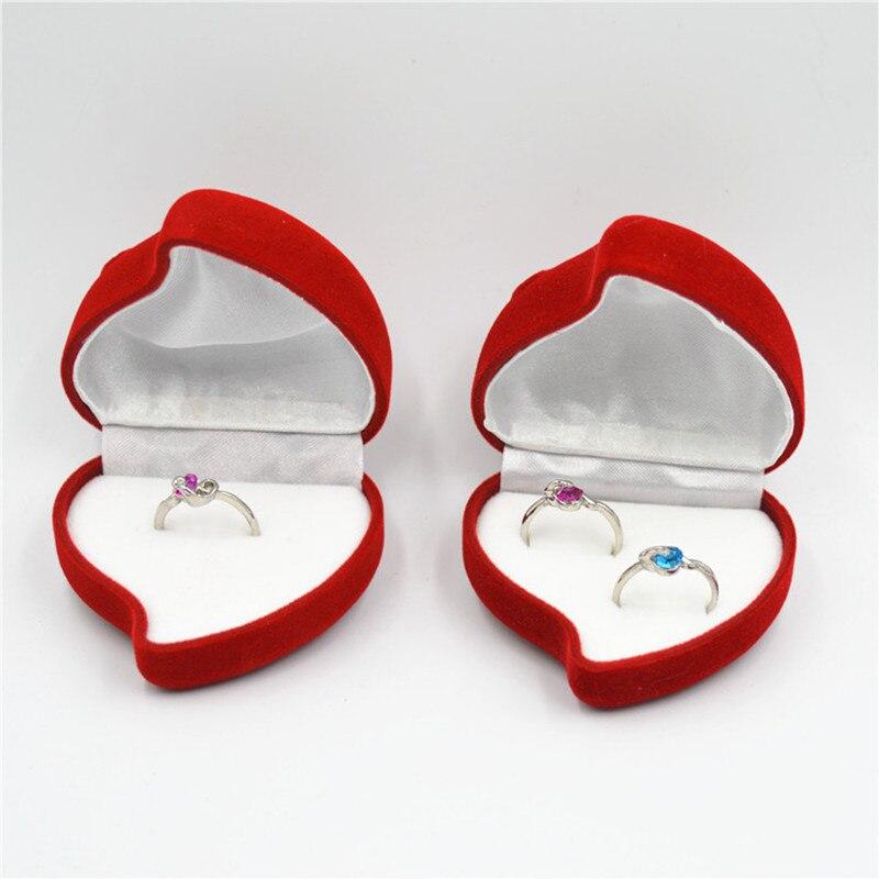 Red Rose Heart Shaped Ring Earring Display Jewelry Box Gift Velvet,Box