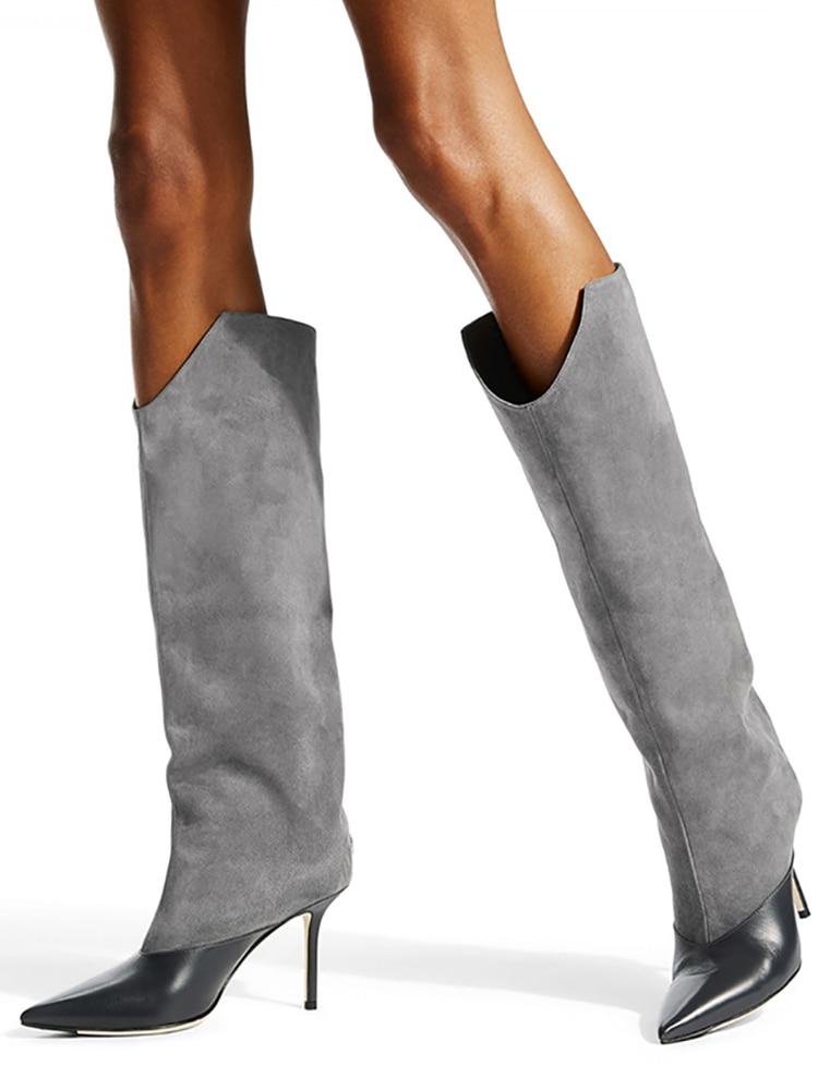 Elegant Grey Wide Shaft Boots Patchwork