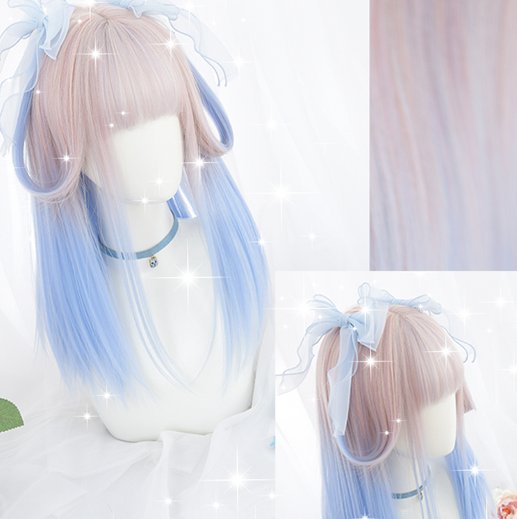 Gradient ramp Champagne Blue lolita Cosplay Wig Girl Hairpiece Blunt Bangs Straight hair Pigtail Hair Periwig only no Ribbon