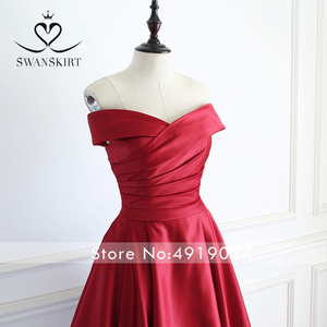 Image 3 - Red Off Shoulder Satin A Line Evening Dress Swanskirt Sweetheart Lace up Court Train Bride gown Princess robe de mariee A233