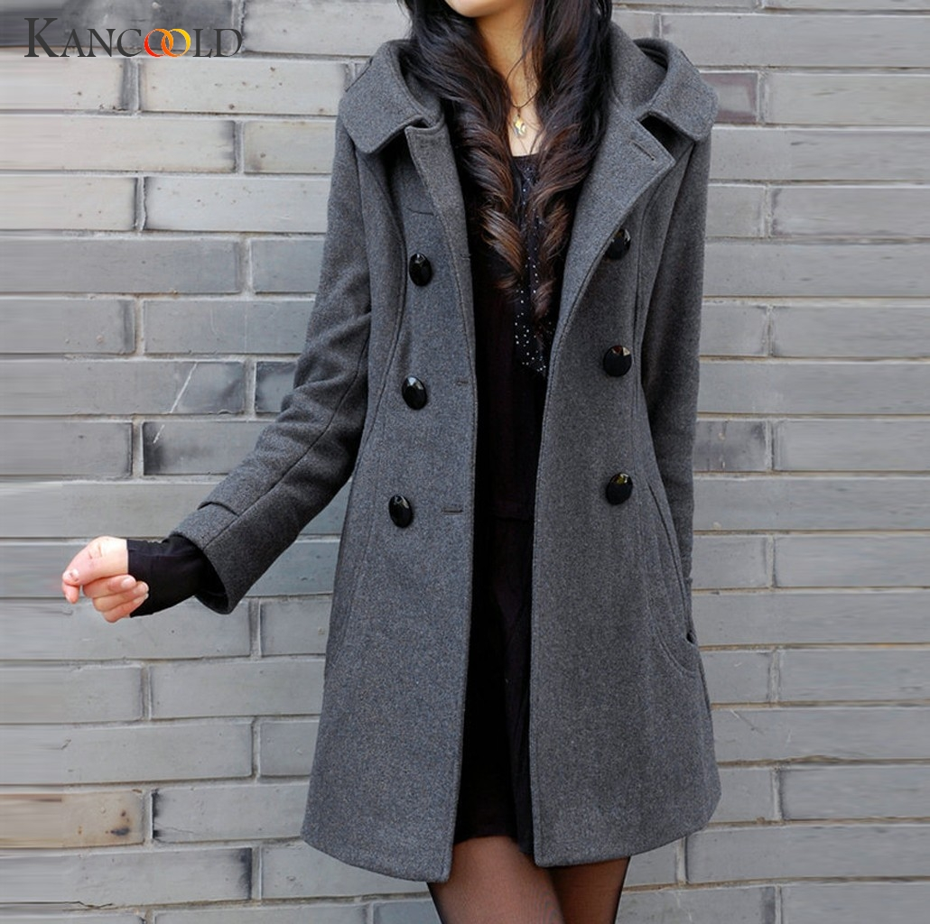 KANCOOLD Women Casual Woolen Coat Medium And Long Jacket Double-breasted Hooded Thick Coat Button Long Sleeve Jacket Outwear