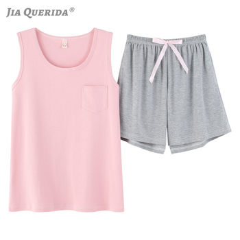 Pajamas for Women Cotton Pink Pyjamas Sleeveless Round Neck Pullover Summer Shorts Plus Size Hot Sleepwear Womens Pijamas - discount item  43% OFF Women's Sleep & Lounge