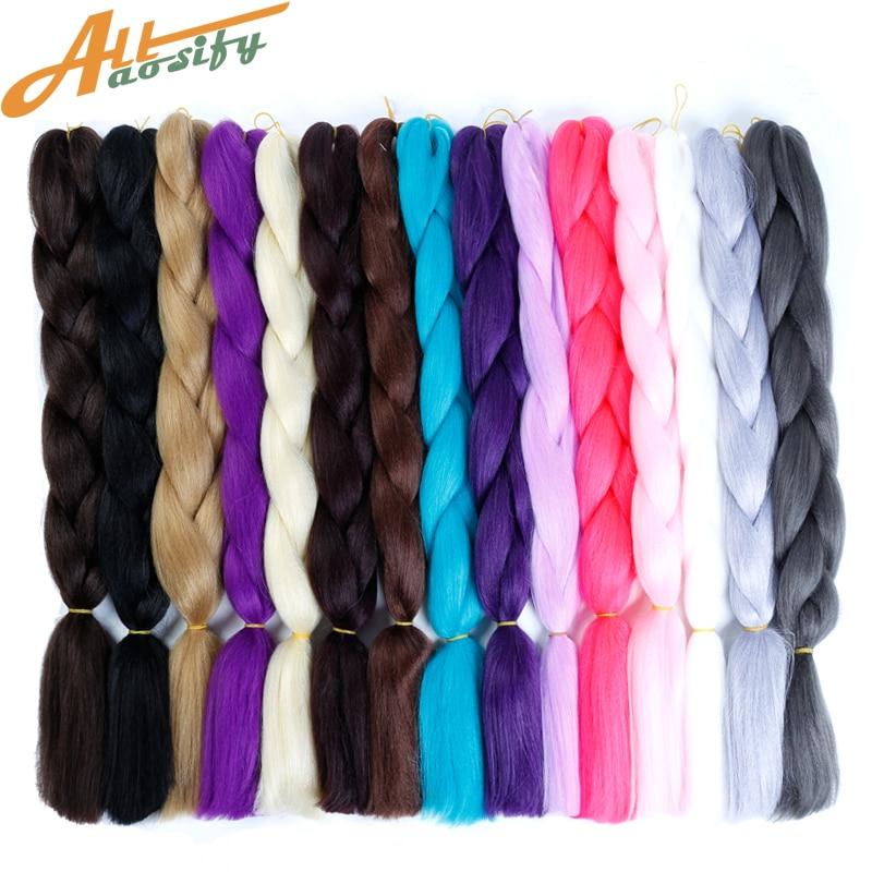 Allaosify 24'' 100g/pc Synthetic Ombre Braiding Hair Crochet Box Braids Hairstyle Hair Extensions Silver Gray Black Crochet Hair