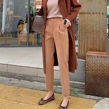 JUJULAND woman autumn winter solid pants casual elegant formal Elastic waistline Straight leg 813