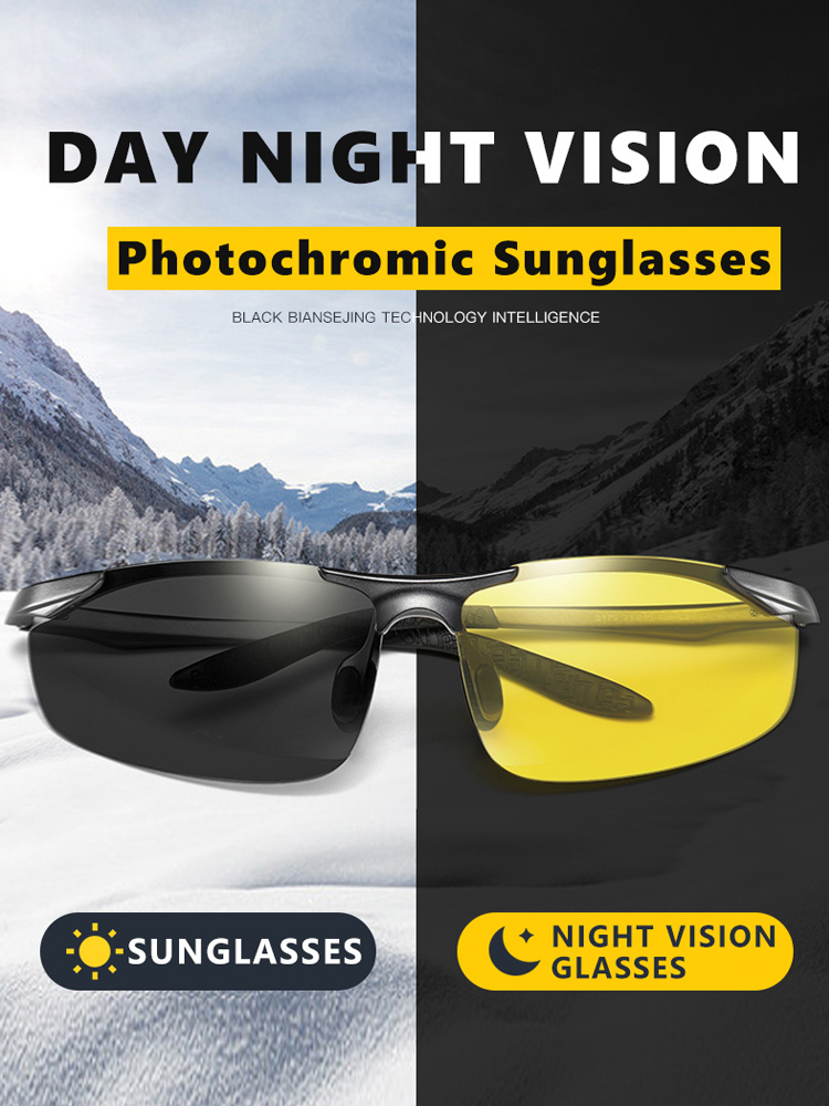 Sunglasses Men Magnesium Oculos-De-Sol Night-Vision Photochromic Polarized Day Masculino
