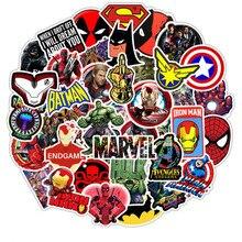 50 шт Мультяшные наклейки Marvel Прохладный Мстители Водонепроницаемый стикеры Чемодан СКЕЙТБОРД гитара ноутбука наклейки игрушки для детей