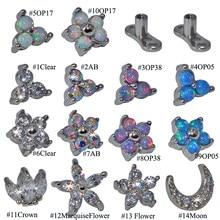 1PC Opale Fiore Triangolo Micro Dermal Anchor Top CZ Gem Crown Skin Diver Dermal Anchor Surface Piercing Impianti Sexy gioielli