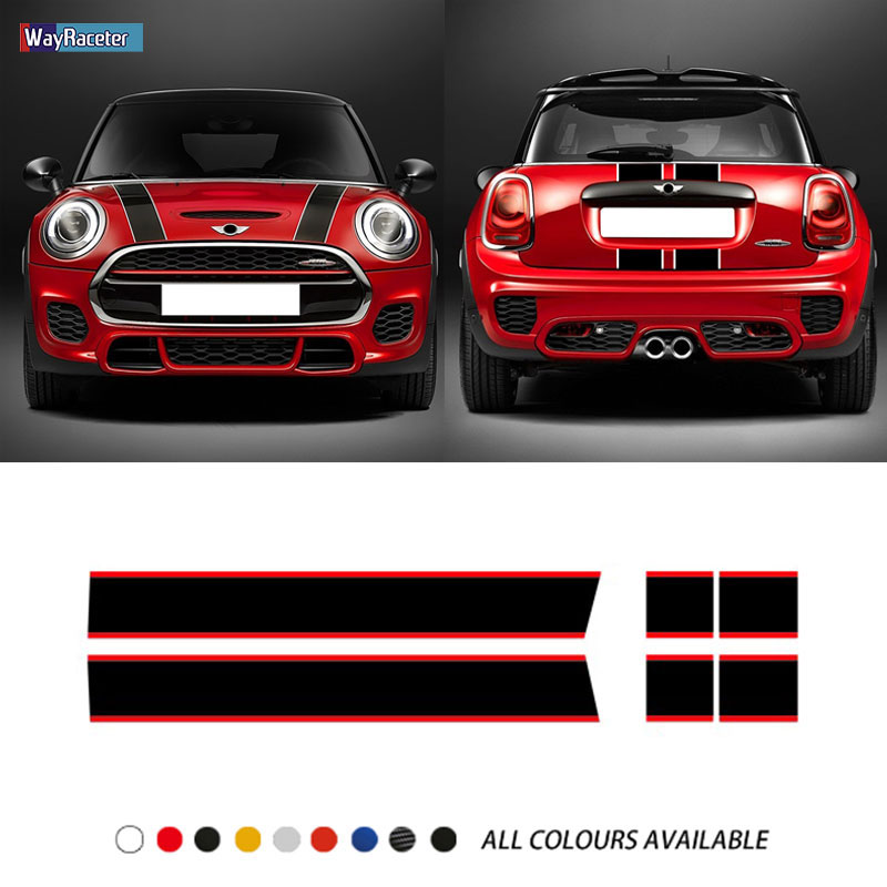 Car Hood Sticker Bonnet Stripes Engine Cover Band Rear Vinyl Decal For MINI Cooper F56 R56 F55 F57 R57 JCW Accessories