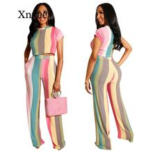 Color Striped Two Piece Set Women o-neck Short Sleeve T-Shirt Crop Top + Wide Leg Pants Outfits Summer Casual Sports Tracksuits new women fashion letter printed colorful striped short sleeve t shirt female summer sexy crop top korean o neck casual t shirt